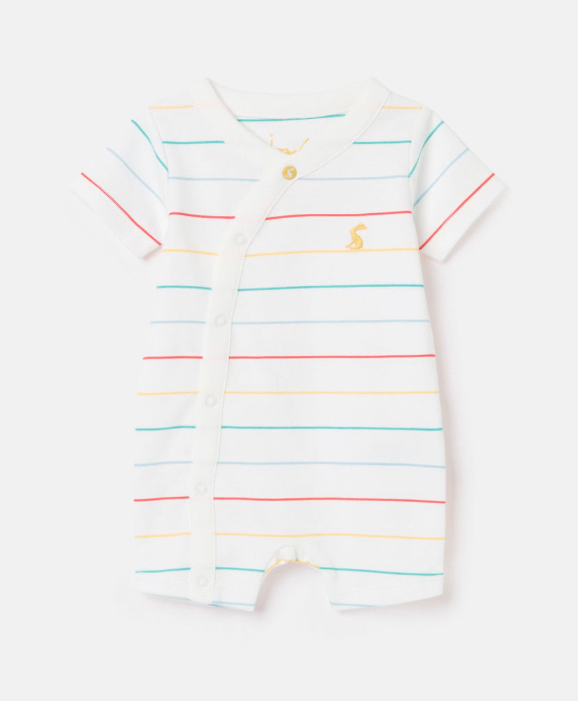 Joules- Organic Cotton shortie Romper Multistripe