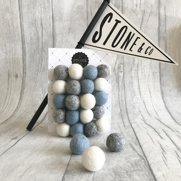 Stone and Co Felt Garland Dusty Blue, Grey and White - Baby at the Bank