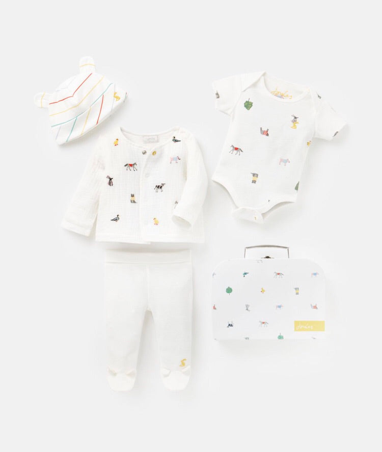 joules -whitefarm baby set-baby at the bank
