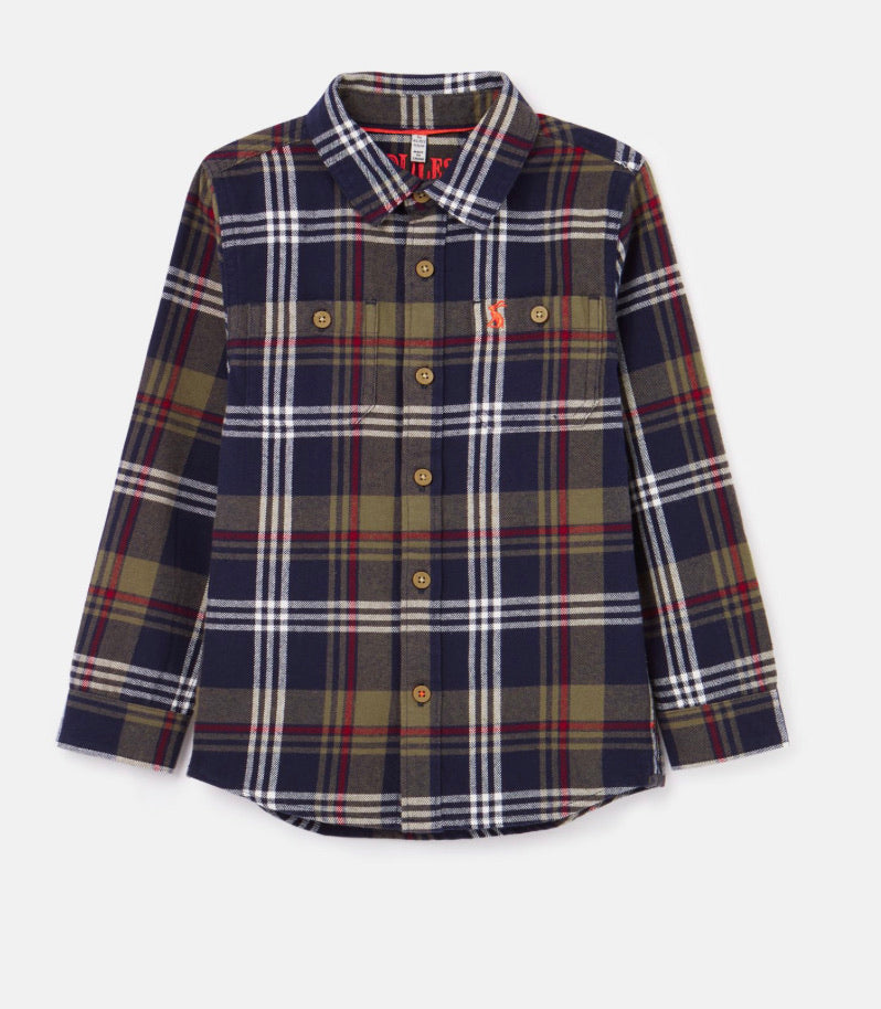 joules-hamish checked shirt-baby at the bank