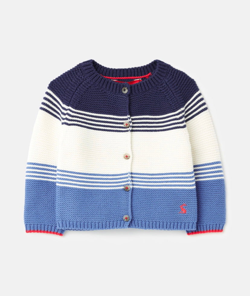Joules- Blue Haywood Stripe Cardigan