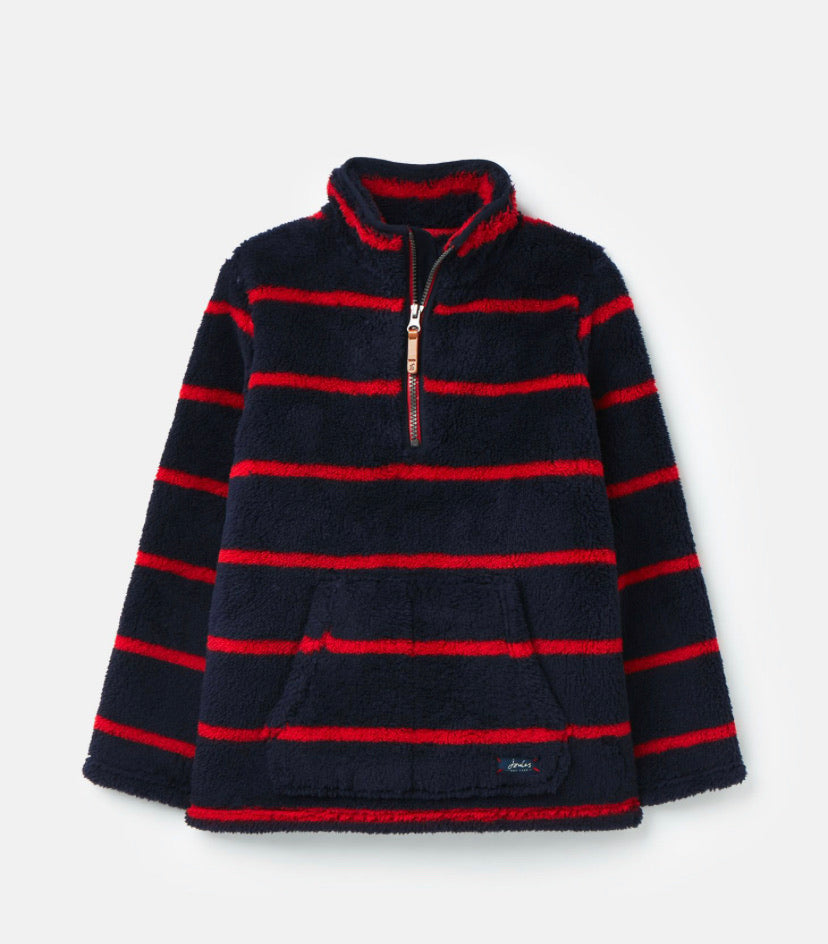 Joules- Woozle overhead fleece red stripes