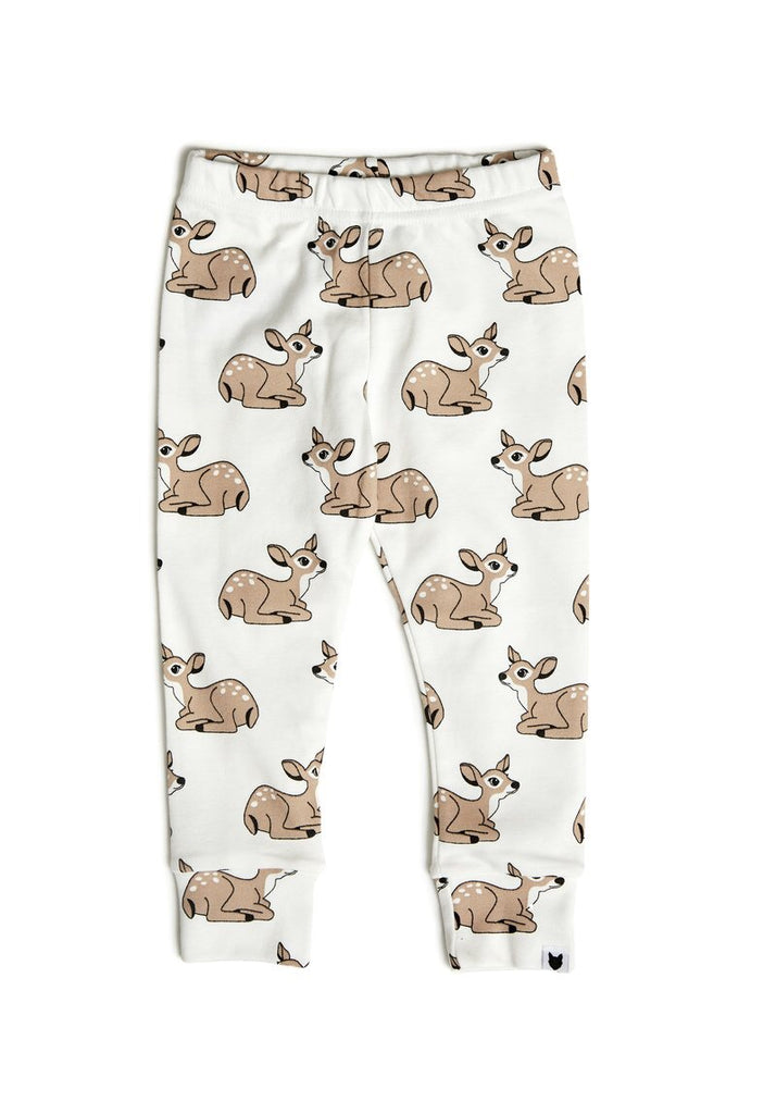 tobias and the bear-fawn leggings-baby at the bank