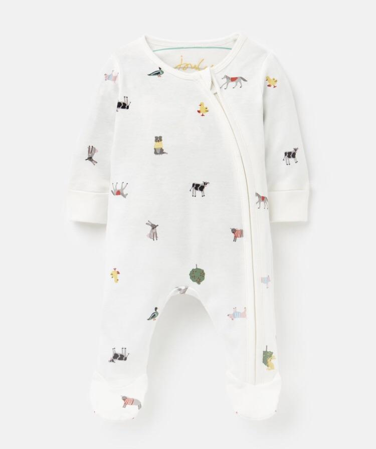joules-white farm babygrow-baby at the bank