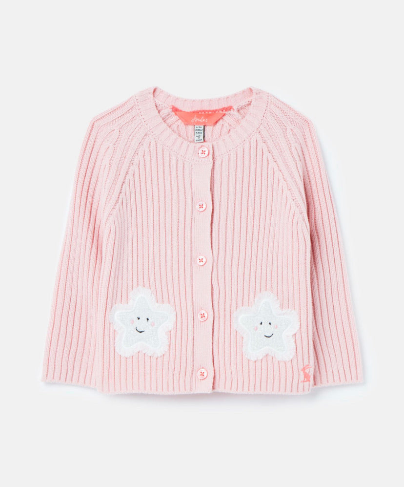 joules-knit rib cardigan pink-baby at the bank