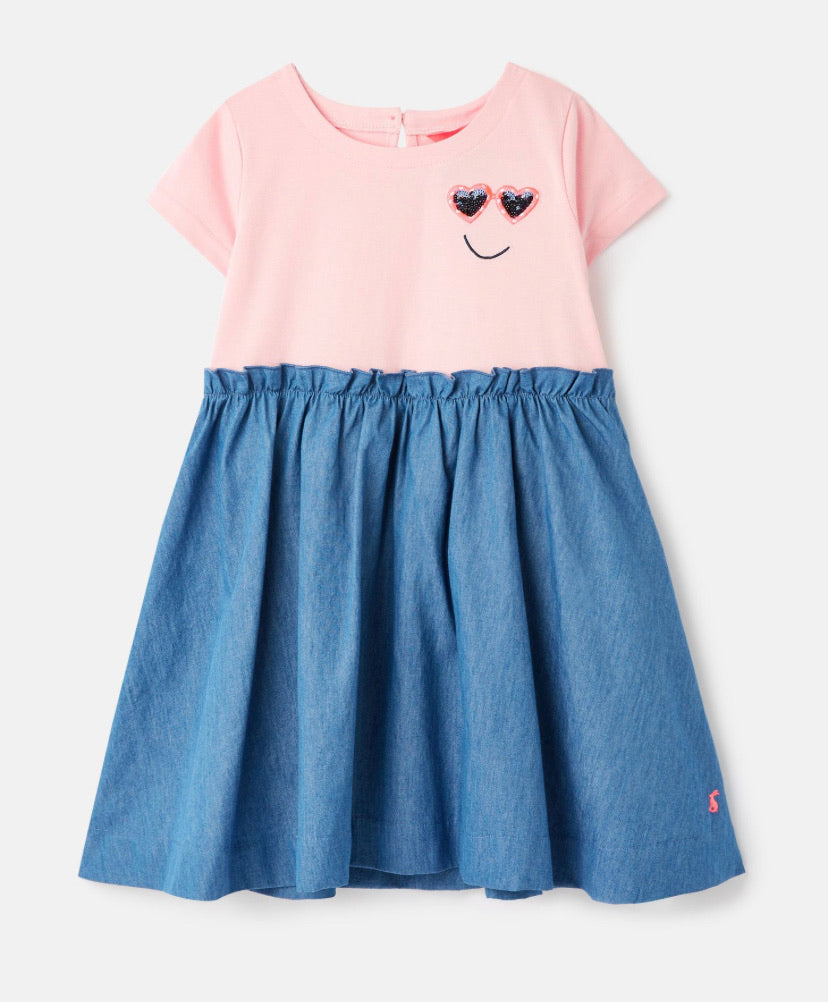 joules-paperbag dress-baby at the bank