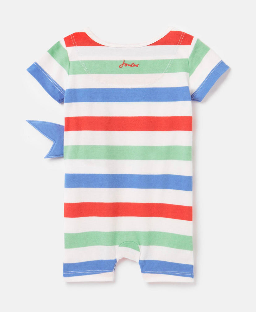 joules-fibert all in one romper shark-baby at the bank