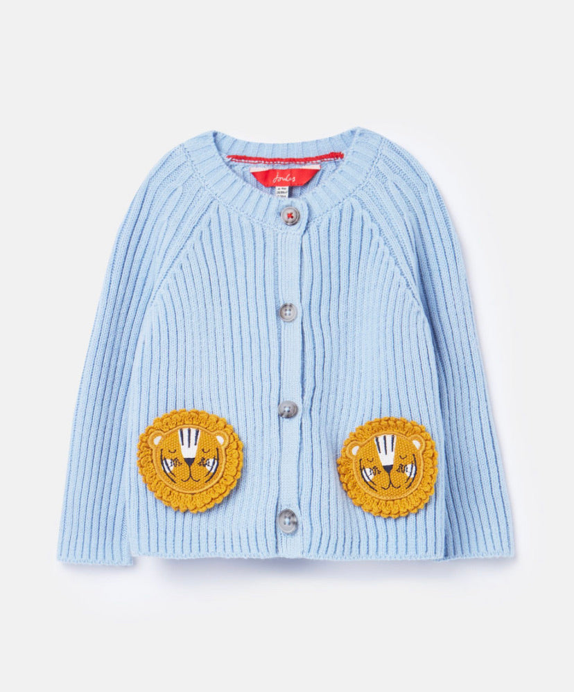 joules-knit rib cardigan bluw lions-baby at the bank