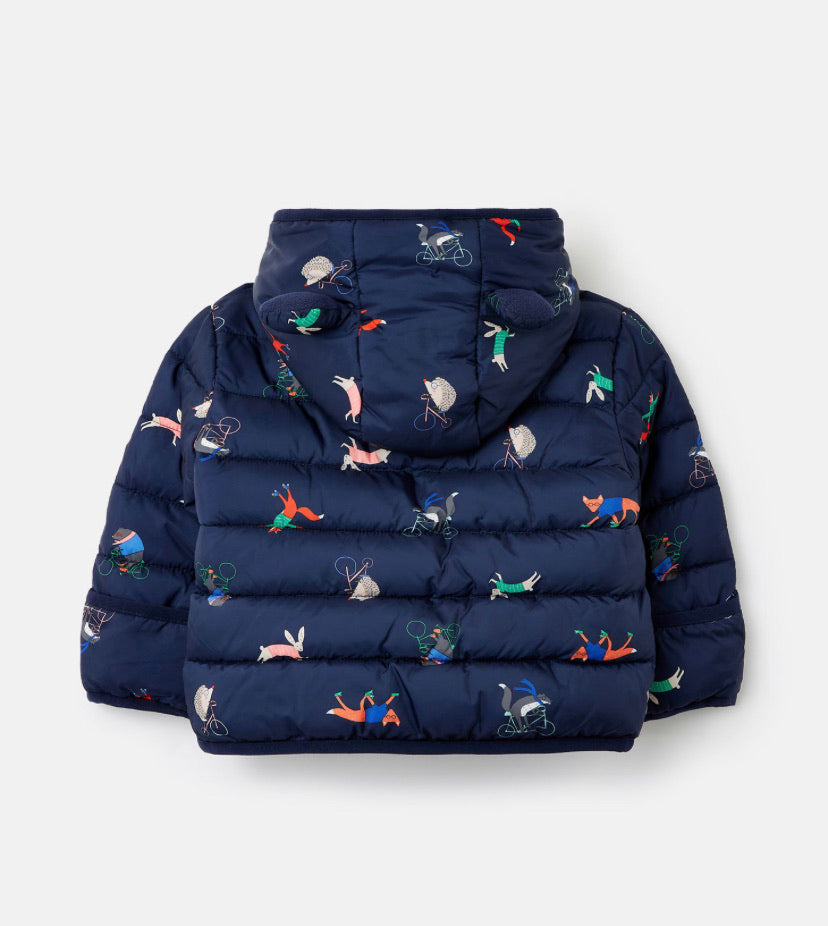 Joules - Navy Animal Print Coat