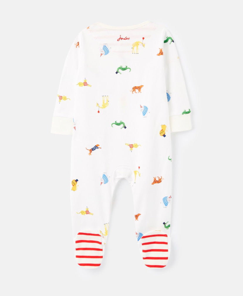 joules- White Animals Unisex Babygrow