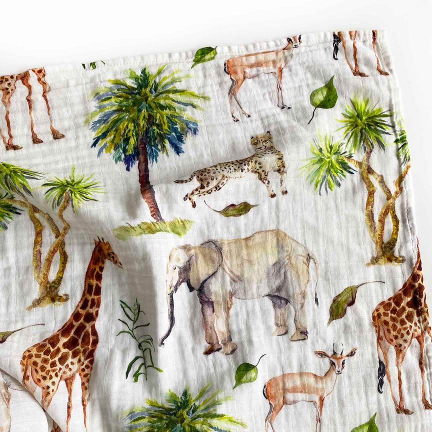 Mama Shack - Large Muslin Swaddle Wild Safari