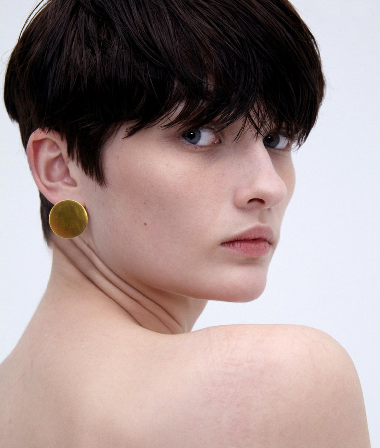 Matt Gold Disc Stud Earrings