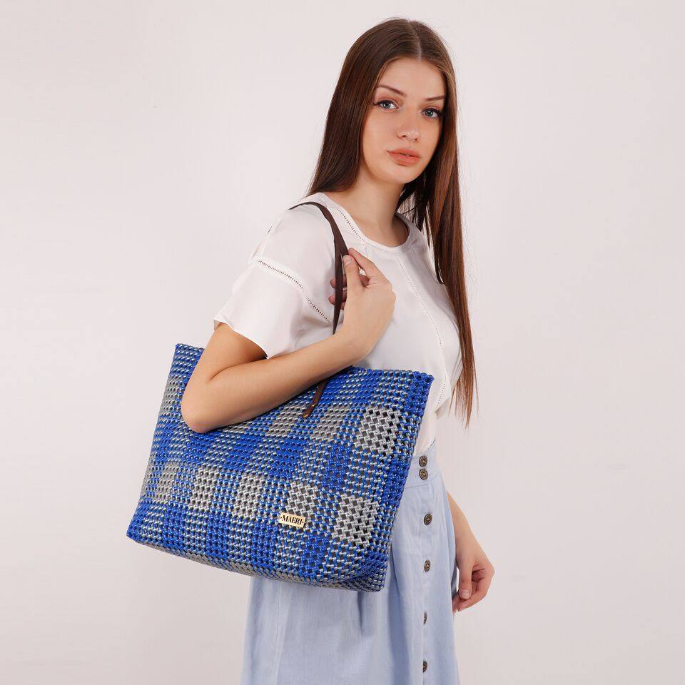 Royal Blue & Dark Grey Check Shoulder Tote