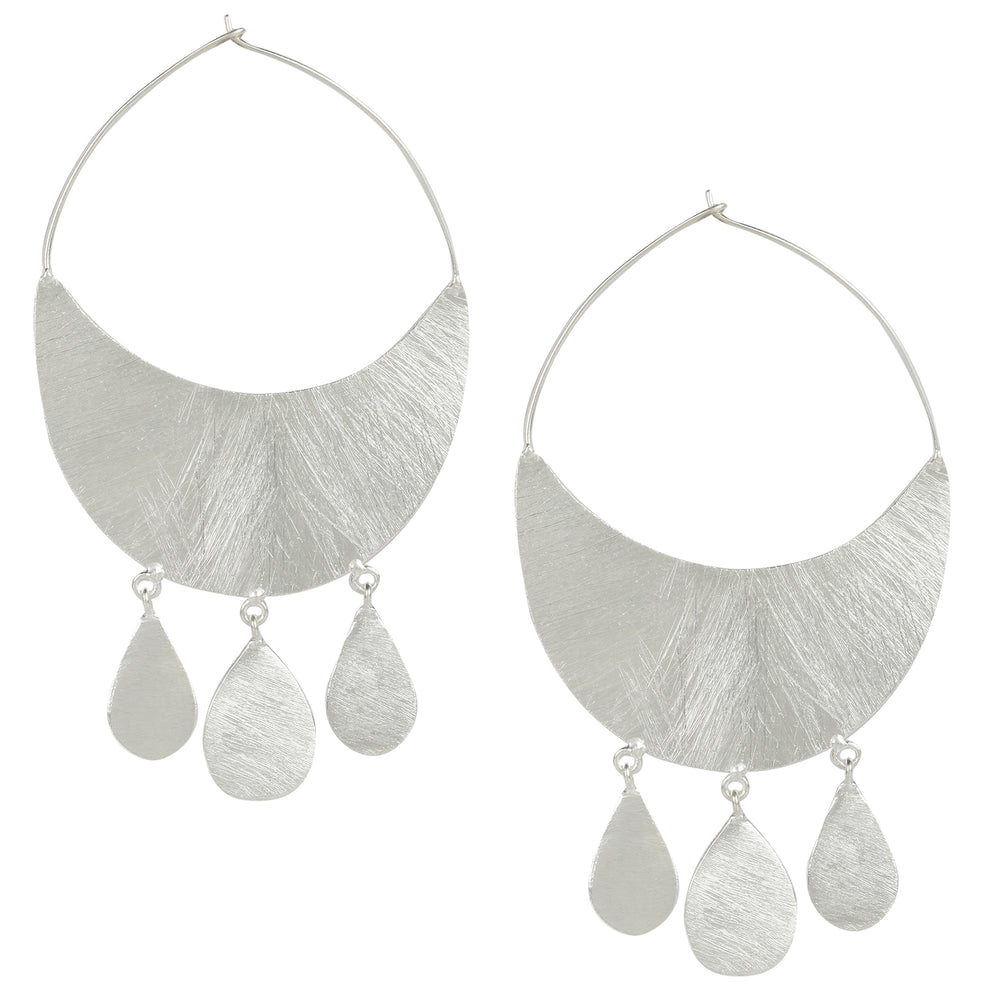 Silver Crescent Hoops