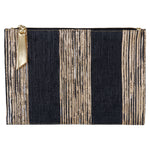 Gold and Black Stripe Metallic Clutch
