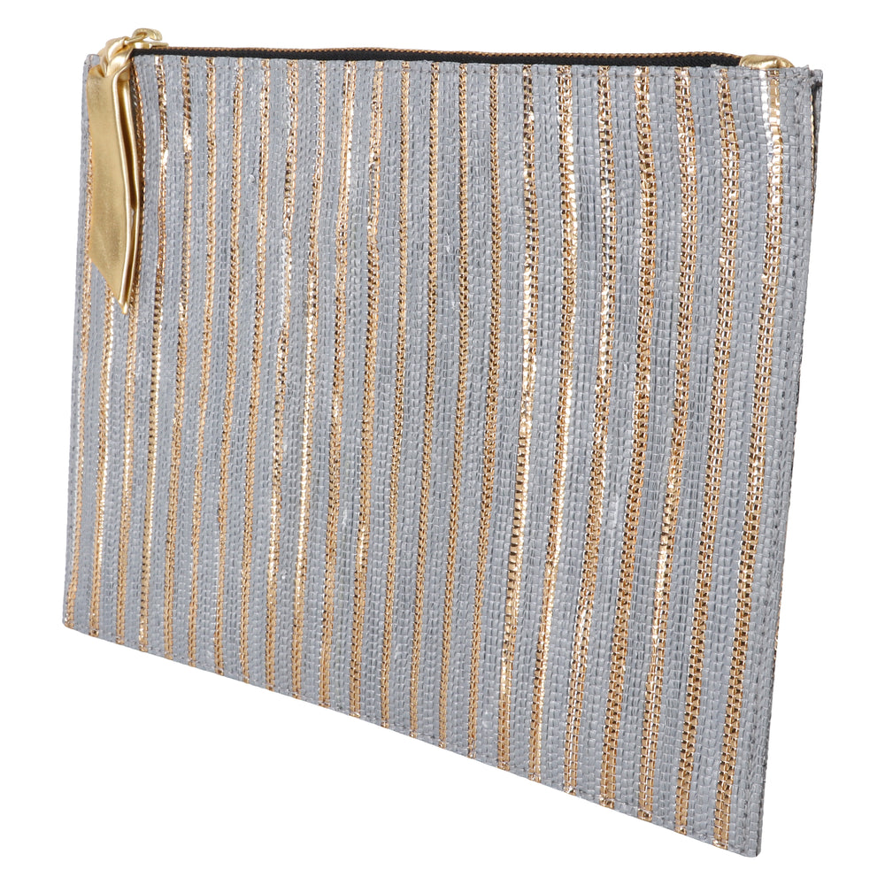 Grey and Gold Thin Stripe Clutch.
