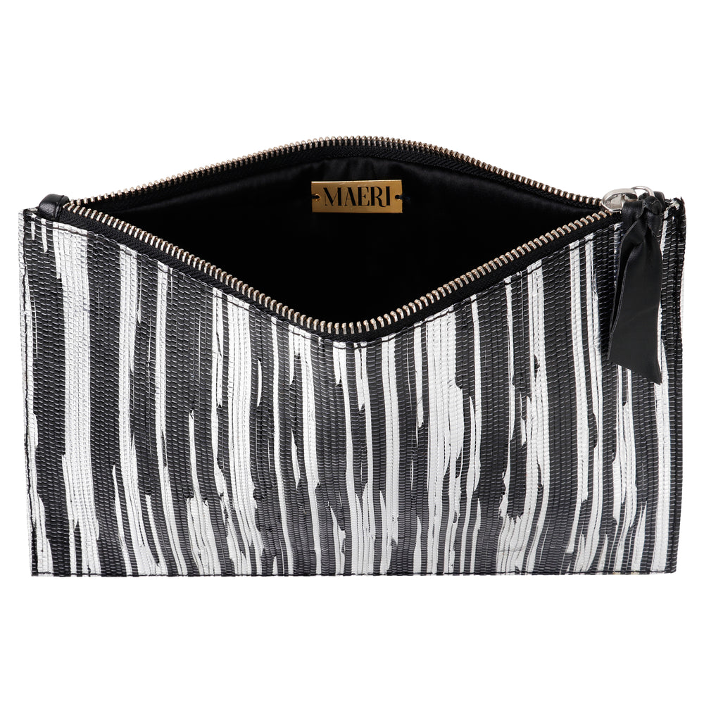 Black and Silver Ikat Metallic Clutch