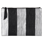 Black and Silver Stripes Metallic Clutch.