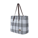 White & Dark Grey Check Shoulder Tote