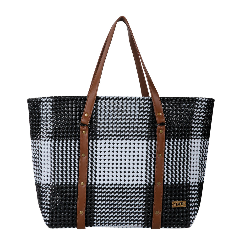 Black & White Check Tote With Straps