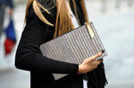 Grey and Gold Thin Stripe Metallic Clutch.