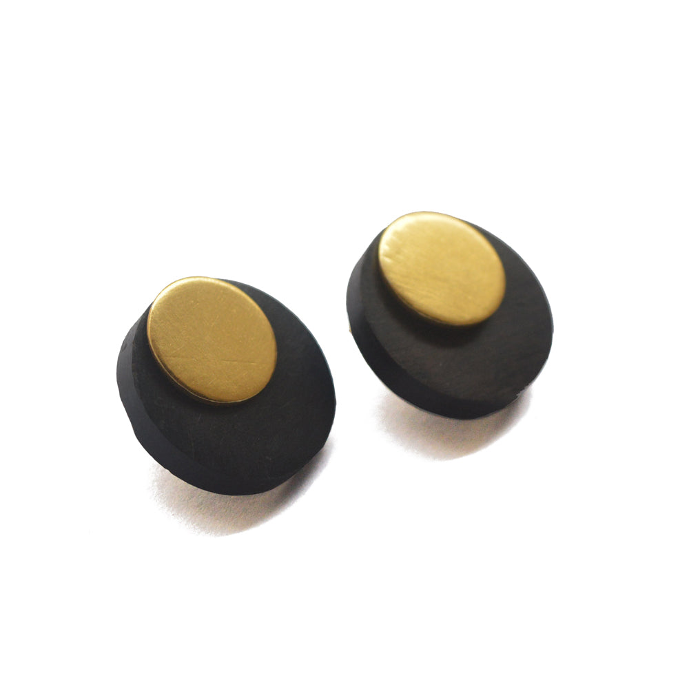 Pure Ebony Wood With Gold Stud Earrings