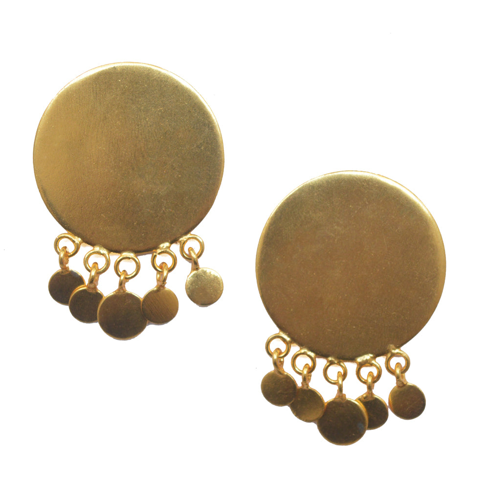 Gold Disc Dreamcatcher Earrings