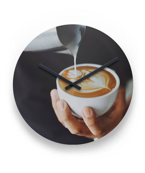 "Clock - Pouring Latte Art 11"" Round Wall Clock-Decor-Coffee Bean Comrades"