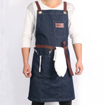 Denim Apron with adjustable straps - Barista Cafe Uniform-Barista Uniform-Coffee Bean Comrades