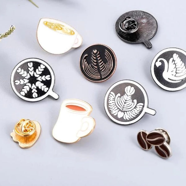 Coffee Badge Espresso Pin Accessories - Various patterns - Coffee Bean Comrades