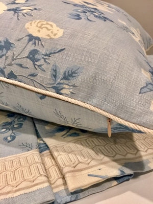 Scalamandre Ascot linen pillow and valance
