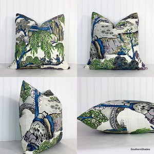 One or Both Sides - ONE Thibaut Asian Scenic Pillow Cover with Self Cording