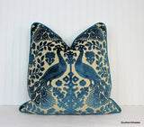 One or Both Sides - ONE Schumacher Pavone Velvet Pillow Cover with Knife-Edge