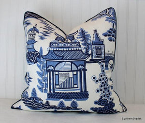 One or Both Sides - ONE Schumacher Nanjing Pillow Cover with Self Cording