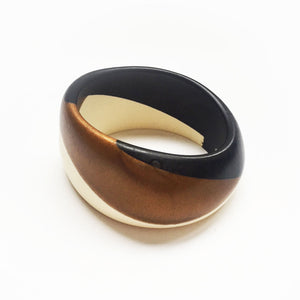 Bella bangle - black, bronze and white