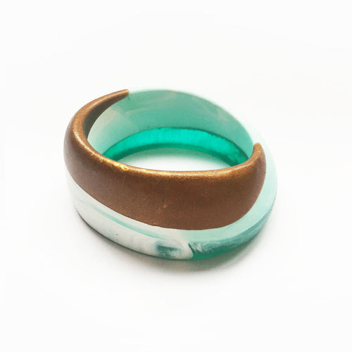 Bella bangle - turquoise, bronze and white