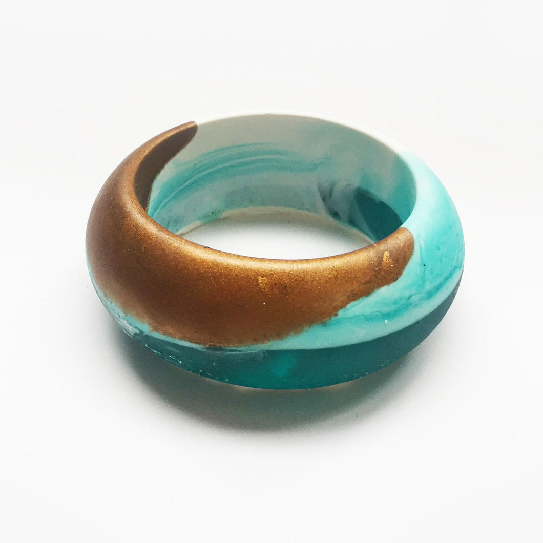 Birdy bangle - turquoise, bronze and white