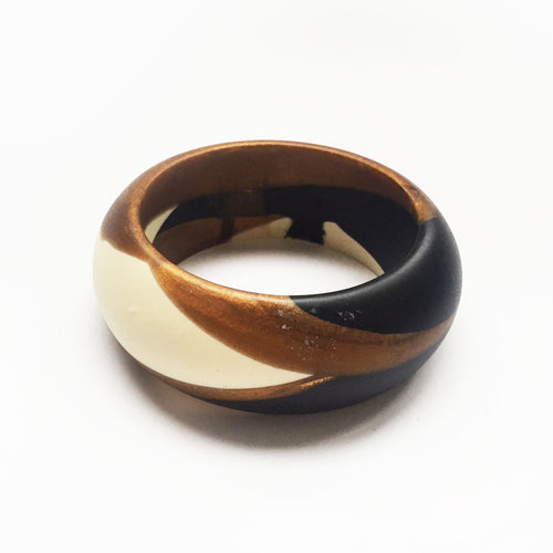 Birdy bangle - black, bronze and white