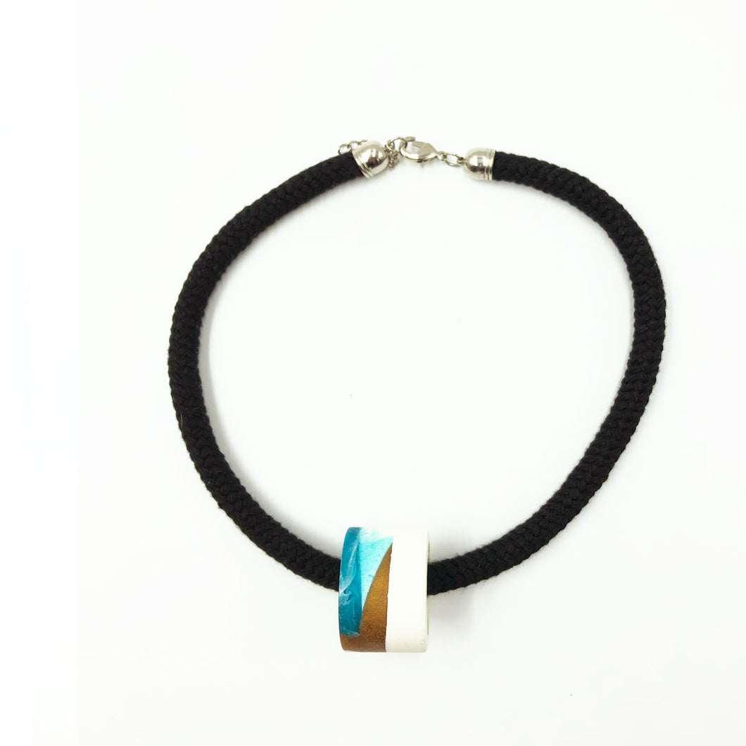 Clara 1 Necklace - Turquoise, Bronze and White