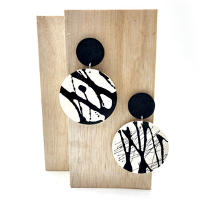 Clare 2 Earrings - black and white splashes