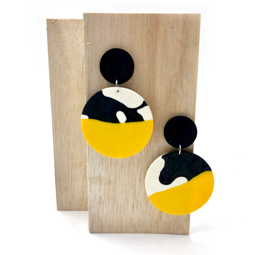 Clare 2 Earrings - yellow, black and white splashes