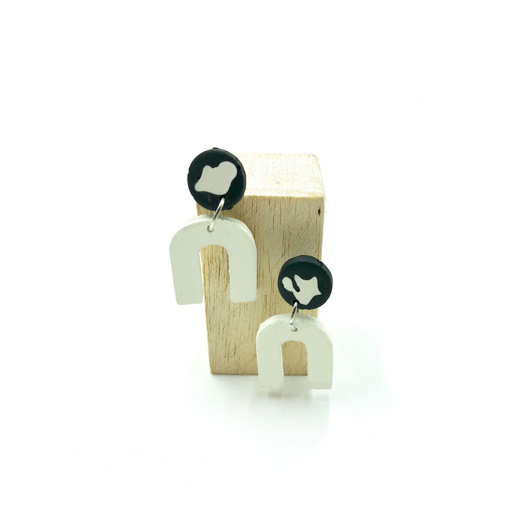 Dante Earrings - black and white splashes
