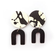 Daphne Earrings - black and white splashes, black