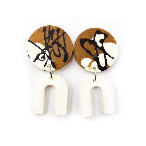 Daphne Earrings - black, bronze and white splashes, and white