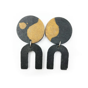 Daphne Earrings - black, bronze and black