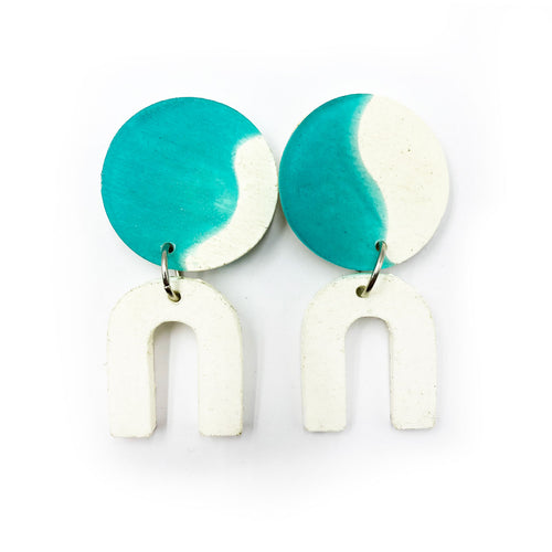 Daphne Earrings - turquoise and white, and white