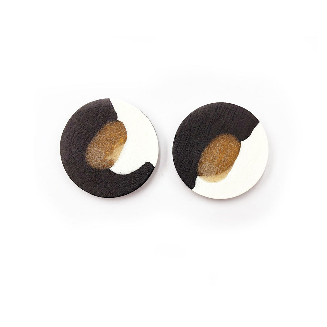 Darla Earrings - black, bronze and white