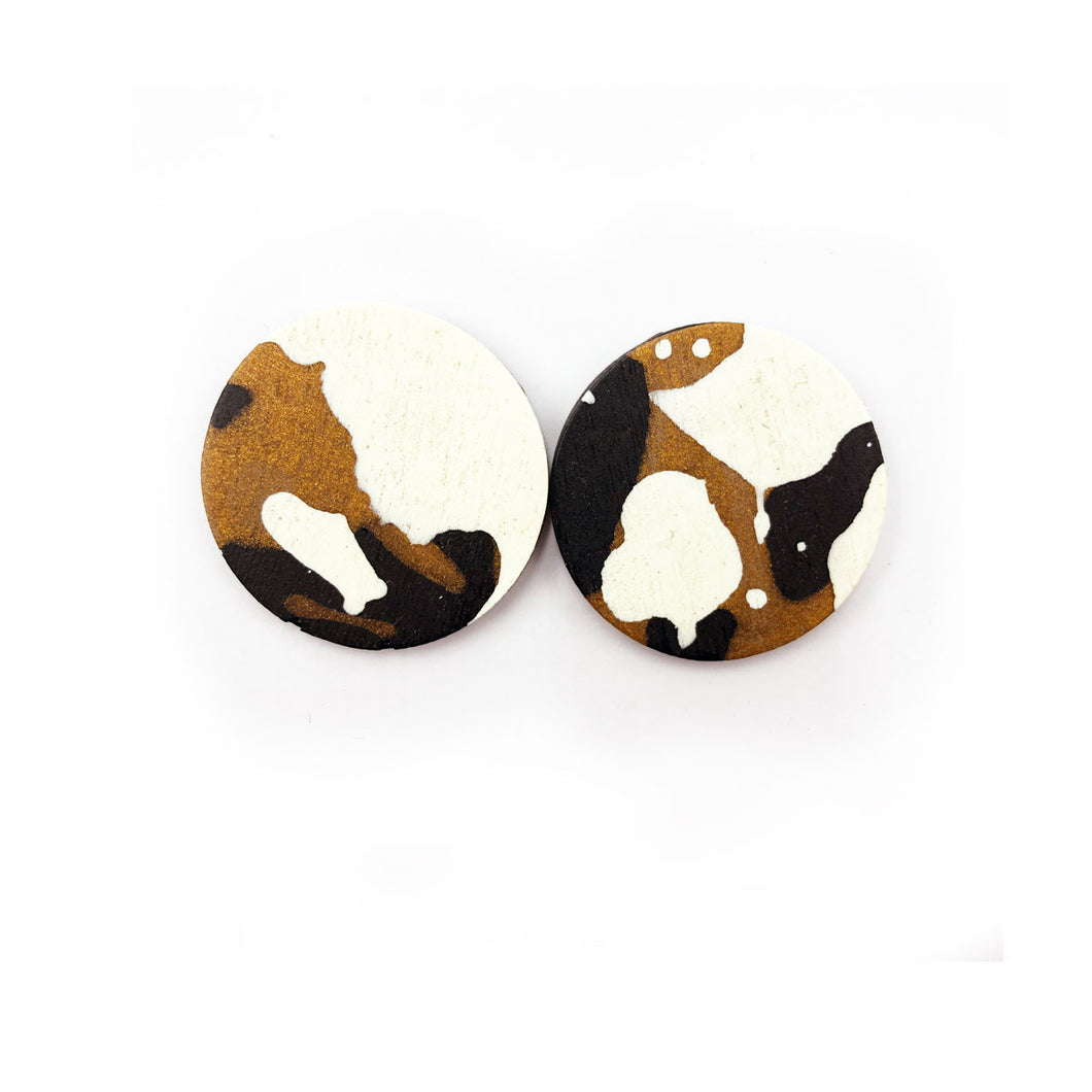 Darla Earrings - black, bronze and white splashes
