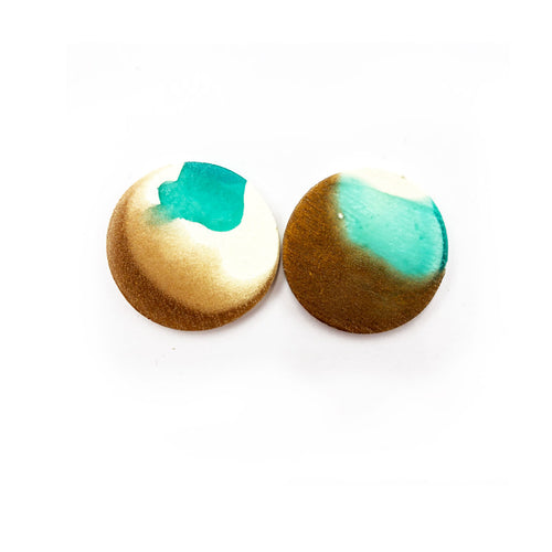 Darla Earrings  turquoise, bronze and white