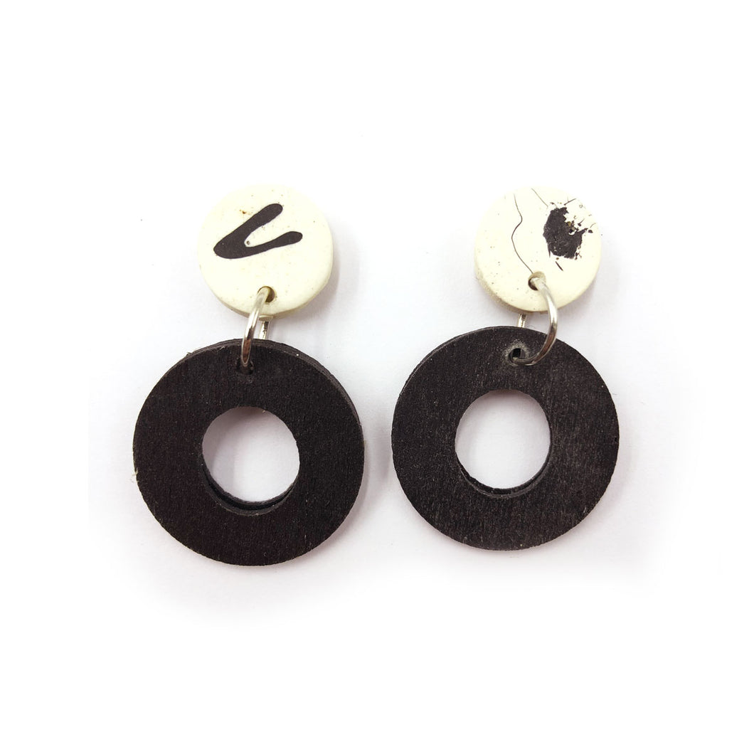 Delilah Earrings - black and white splashes, black